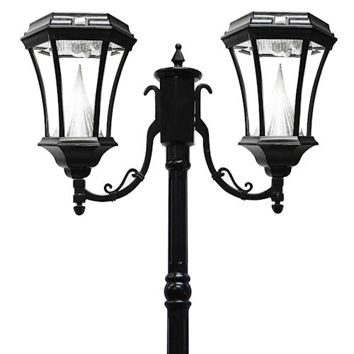 products solar post lights victorian solar lamp post 2 heads. Black Bedroom Furniture Sets. Home Design Ideas
