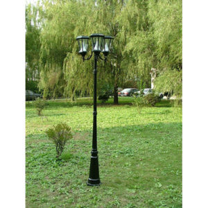 Victorian Solar Lamp Post 3 Heads Day