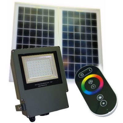 54 LED commercial grade color changing solar flood light